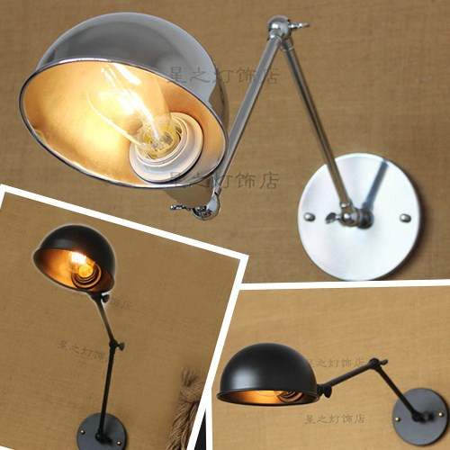 Hot wall lamp bedside round top creative American rocker retro new single head lamp simple Tieyi lighting modern lamp trophy wall lamp wall lamp bed lighting bedside wall lamp