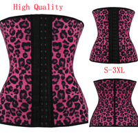 Plus Size Latex Waist Training Steel Boned Corset Underbust Harley Quinn Sport Waist Cincher Slim Women