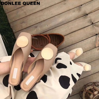 2020 Brand Designer Women Slippers Slip On Mules Flat Heel Casual Shoes British Buckle Slides Wooden Block Heels Summer Footwear 1