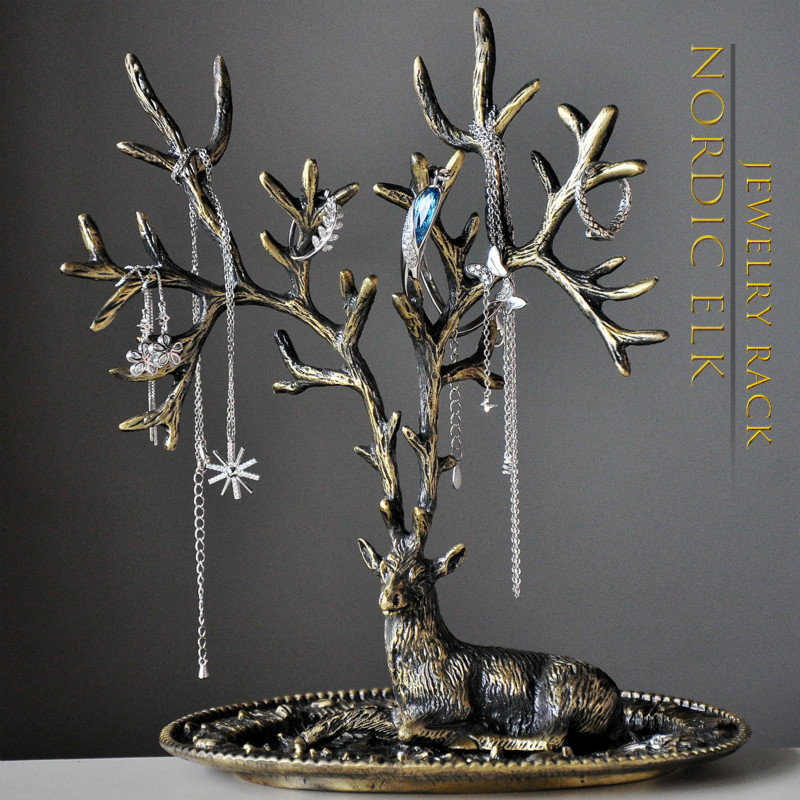 New Nordic Antlers Jewelry Display Frame Creative Home Decoration Retro European Household Necklace Earrings Jewelry Rack Gifts