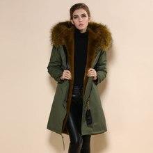Модная зеленая парка пальто коричневые куртки на подкладке из искусственного меха парка с капюшоном комбинезон большого размера плащ
