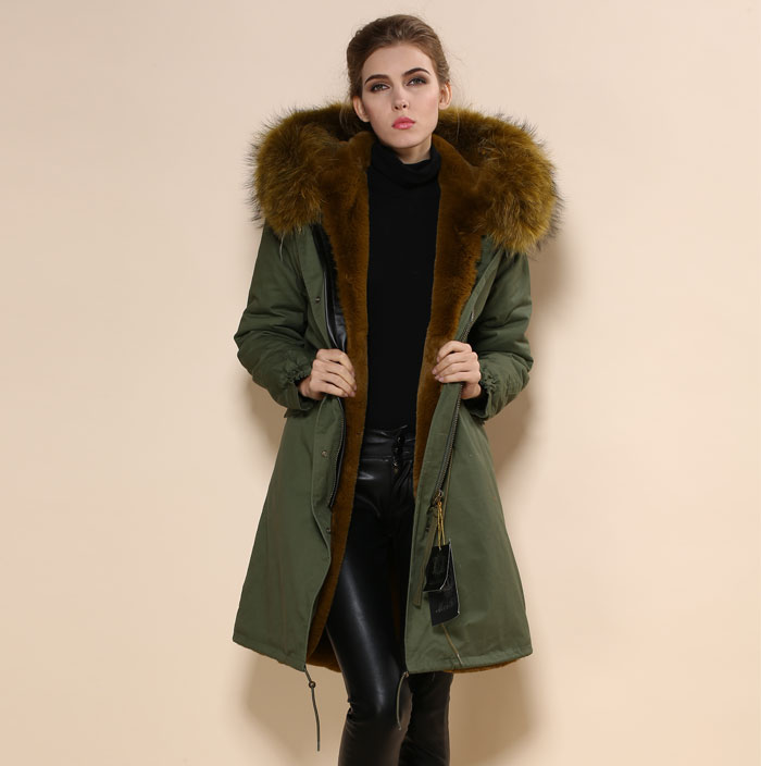 2017 Fashion Green Parka Coat Brown Faux Fur Lined Jackets