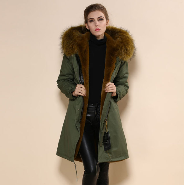 2017 Fashion Green Parka Coat Brown Faux Fur lined jackets hooded ...