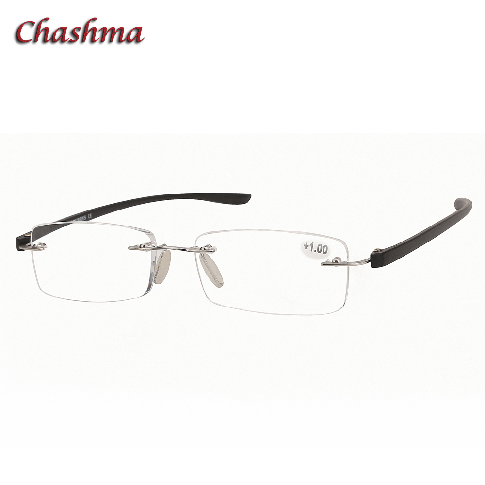 Chashma Brand Design Rimless Eyewear Light Weight Fashion Men Read Glasses Clear Lenses  ...