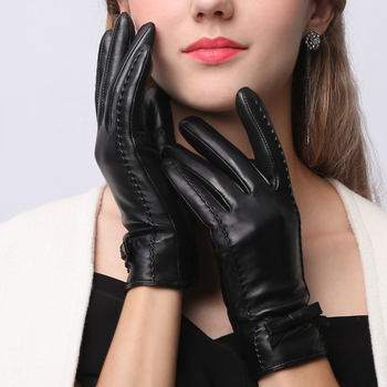 Genuine Leather Woman Gloves Sheepskin Short Style Butterfly Knot Leather Female Gloves Plus Velvet Thicken Warm Winter NW185-9 leather gloves female autumn winter keep warm plus velvet thicken touch screen sheepskin genuine leather woman gloves l18011nc 9