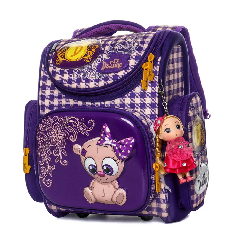 Delune 2019 New Primary School Bags Cartoon Orthopedic backpack for Girls Bear Cat Printing Children Mochila Infantil escolar1-3