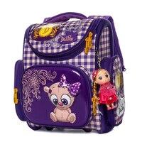 Delune 2019 Yeni Birincil Okul Çantaları Karikatür Ortopedik sırt çantası Kızlar için Ayı Kedi Baskı Çocuk Mochila Infantil escolar1-3