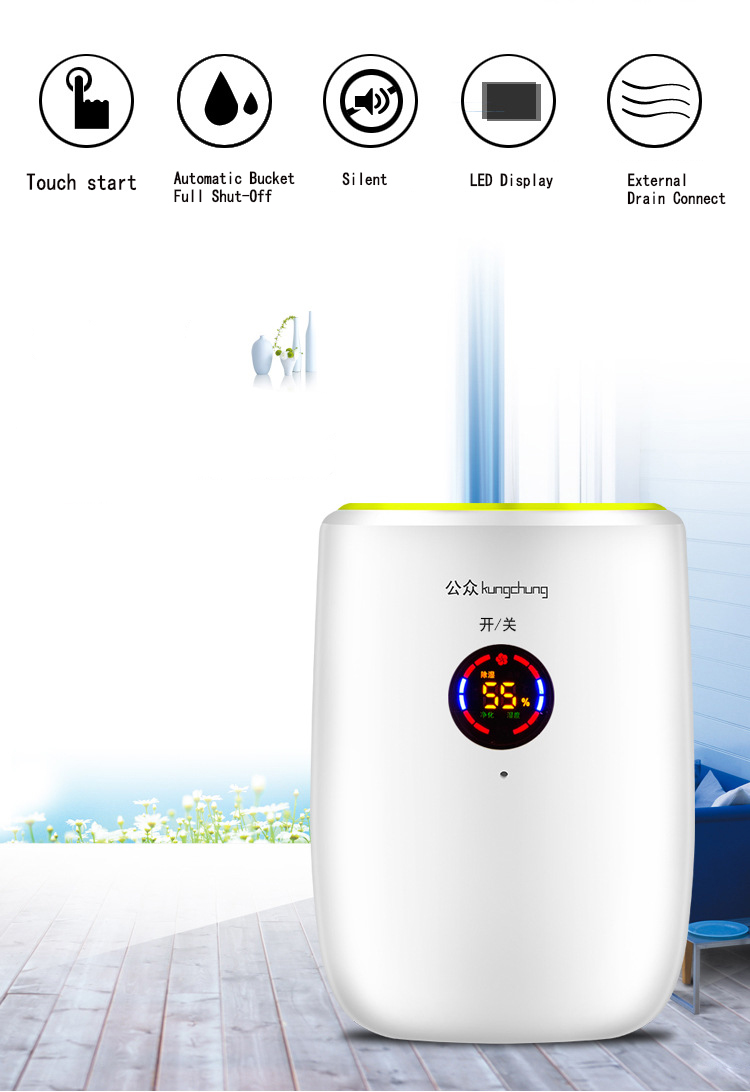 Electric Intelligent Home Air Dehumidifier Continuous Drainage Purify Air  Dryer Machine Moisture Absorb Home Office Appliances