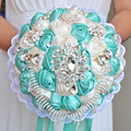 2017 Bridal Bridesmaid Wedding Bouquet Cheap New Luxury Crystal Turquoise Handmade Artificial Rose Flower Bridal Bouquets