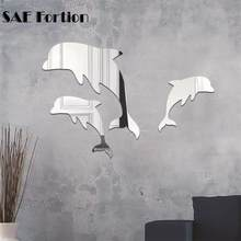4c475de857735 High quality TV Sofa Bedroom Background Mirror Wall Stickers 3D Stereo  Removable Wall Stickers Dolphin Mirror