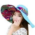 New Fashion Bohemian Estilo Chapéu de Pano Chapéu de Sol de Verão Para As Mulheres de Alta Qualidade Grandes Viseiras Marca Chapéu de Praia Cap Sol
