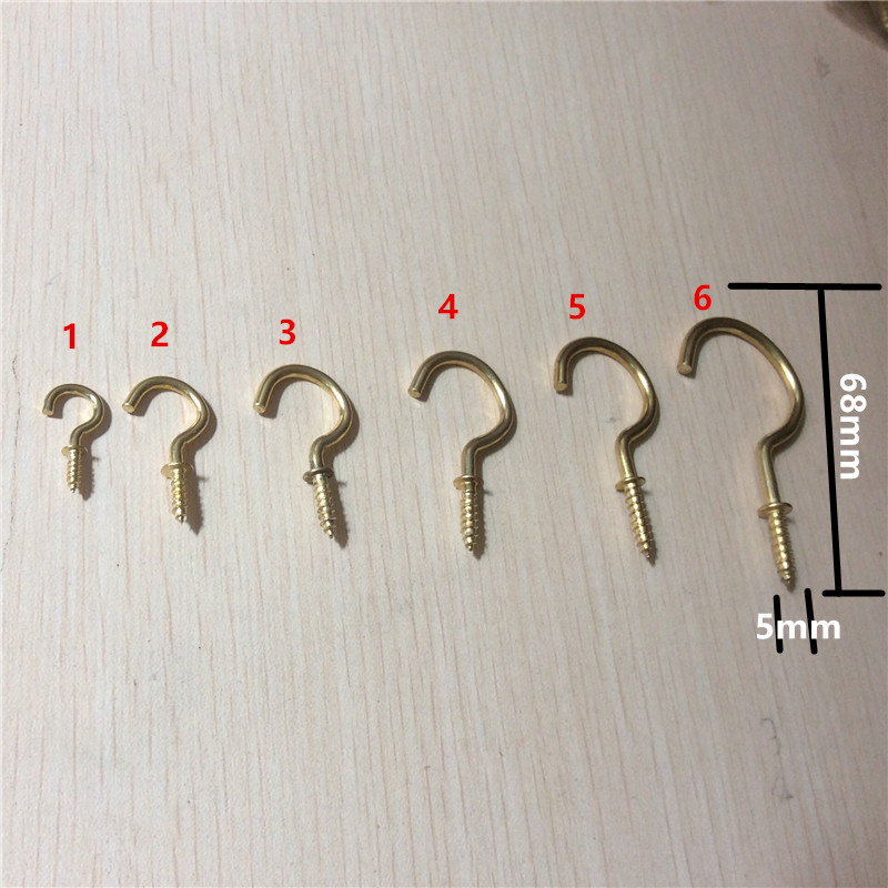Shells 10PCS 2 inches Copper Color Zinc Plated Metal Cup Hooks Eye Shape Screw Hooks Self-Tapping Screws Hooks Ring 14# Copper