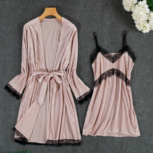 MECHCITIZ 2019 New Autumn Women Robe Gown Set Gold Velvet Bathrobe Winter Sexy Lace Sling Lounge Femme Sleepwear Dress Pajamas