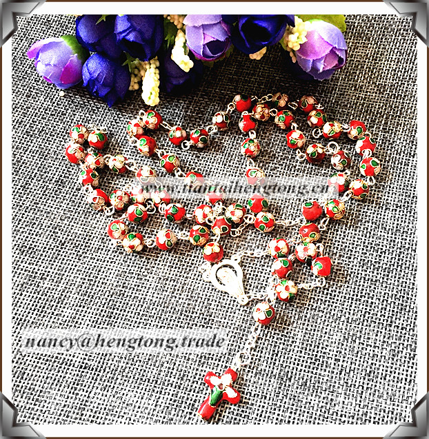 beautiful cloisonne rosary necklace/religious cloisonne necklace special offer(4color available)