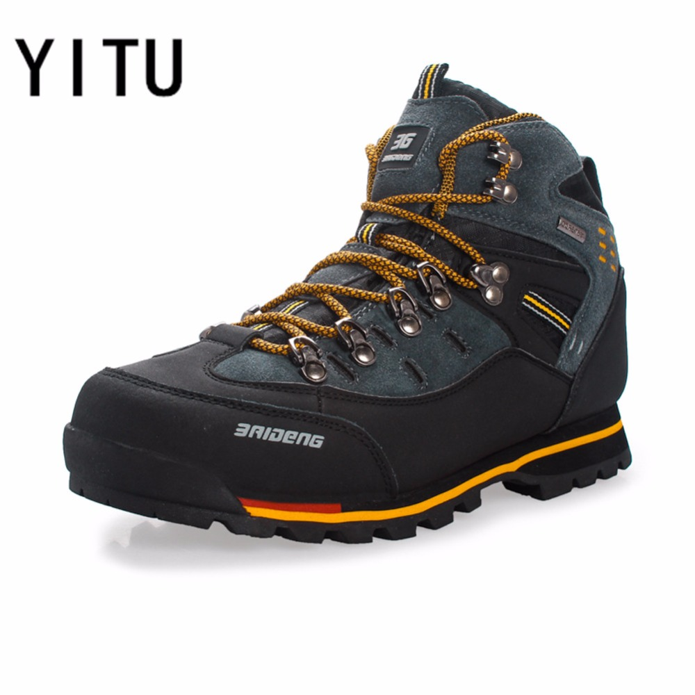 YITU дышащая уличная походная обувь Кемпинг Альпинизм походные ботинки мужские непромокаемые спортивные рыболовные Ботинки трекинговые кро...