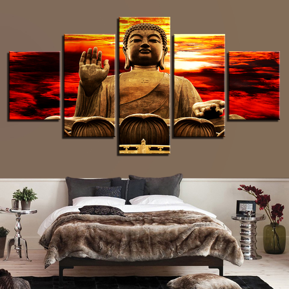 Modern Home Decor Abstract 5 Panel Buddha Framework Canvas Print Popular Painting Wall Art For Living Room Modular Picture