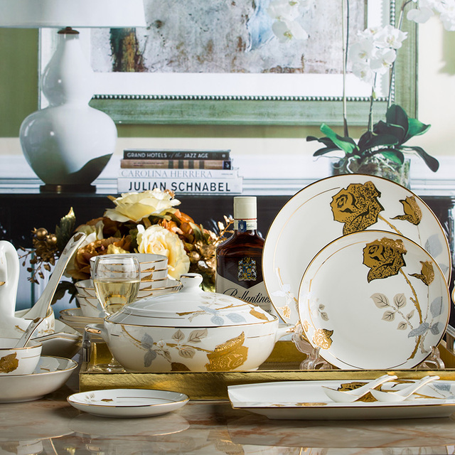 Jingdezhen ceramic dinnerware sets creative European bone china tableware Gold rimmed bowls plates dishs set Festival & Jingdezhen ceramic dinnerware sets creative European bone china ...