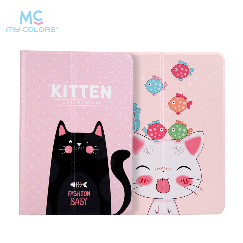 For iPad 2017 9.7 PU Leather Case Cover A1823 Colorful Print Protective Stand For Apple iPad air 2/5 6 A1567 Tablet Smart Skin