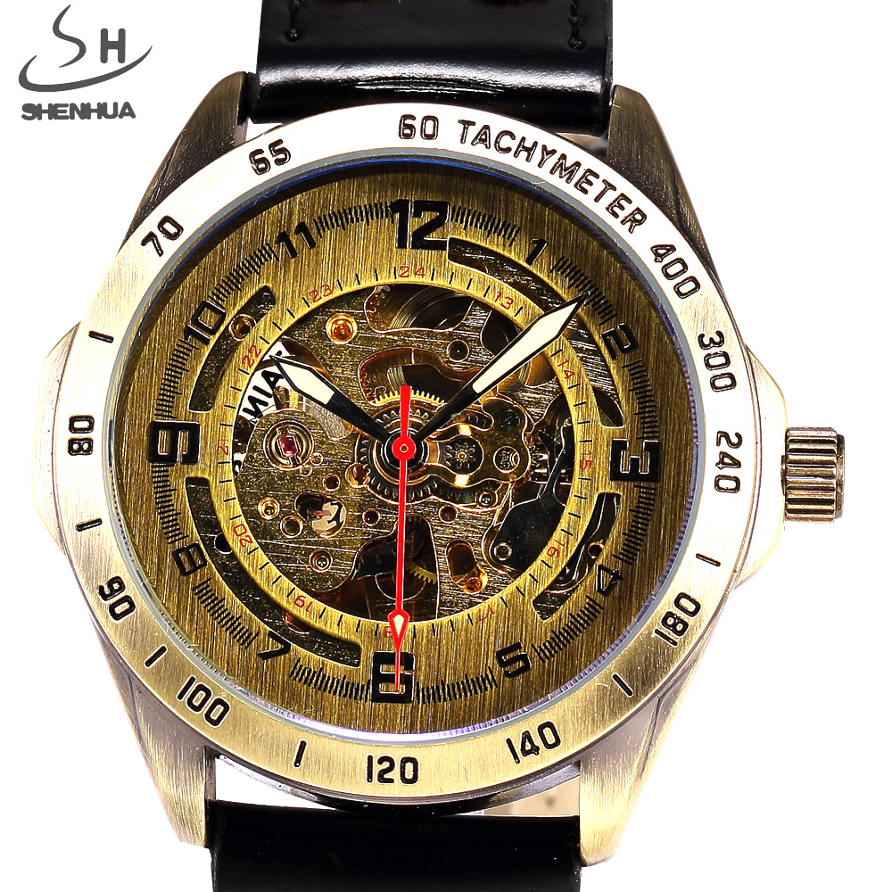 SHENHUA Antique Automatic Skeleton Mechanical Watch Men Bronze Steampunk Retro Leather Sport Wrist Watches Relogio Masculino retro hollow skeleton automatic mechanical watches men s steampunk bronze leather brand unique self wind mechanical wristwatches