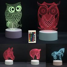 3D LED Night Lights Owl Horse 7 Colors Change Hologram Atmosphere Novelty Table Lamp for Home Decoration Visual Illusion Gift