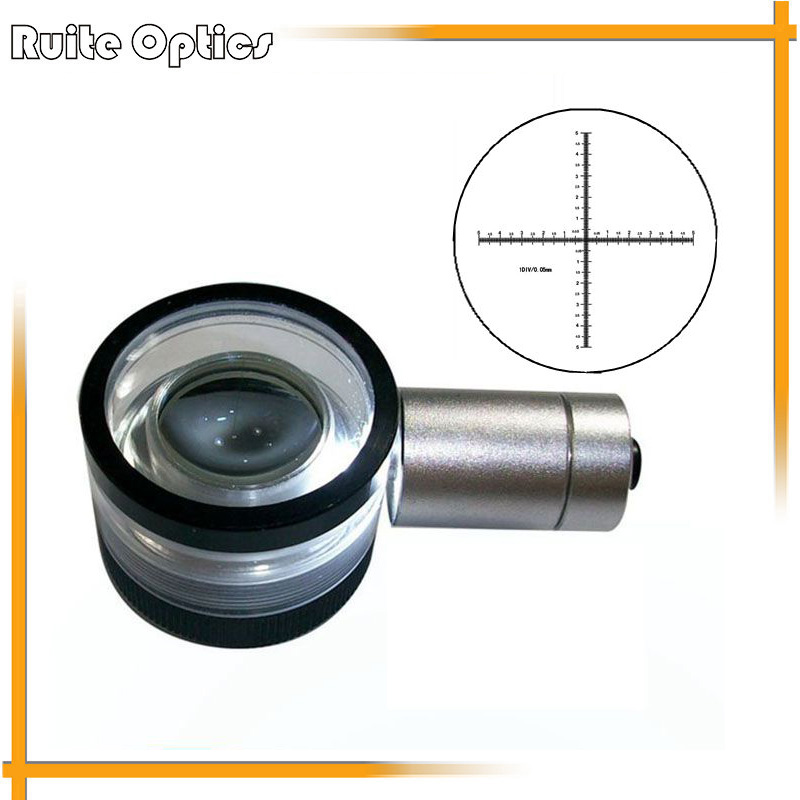 0.05mm 10mm Division Antireflection Film Lens Magnifier Flat-Field Achromatic Magnifying Glass Loupe with Micrometer Scale 30x