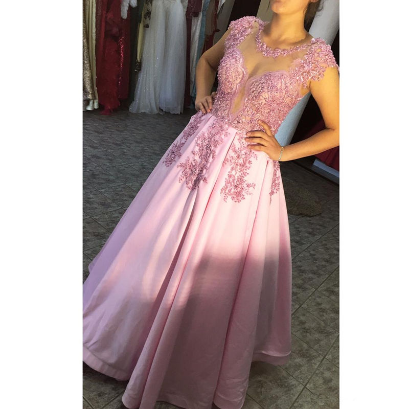 Pink Satin evening   dress   A line Lace Beaded O Neck Illusion Short Sleeve   Prom     Dress   Elegant Women Formal Party Pageant gowns