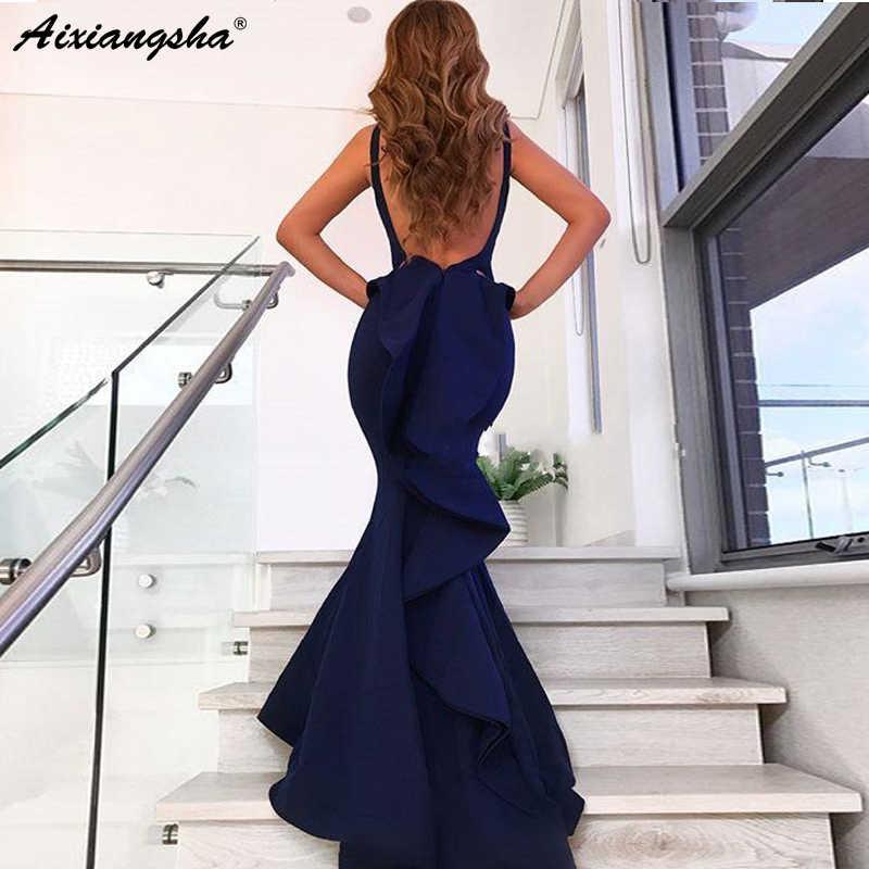 Cuello en V espalda abierta sin mangas satén largo vestidos de graduación bata de soiree azul marino sirena vestido Formal elegante vestido de noche 2019