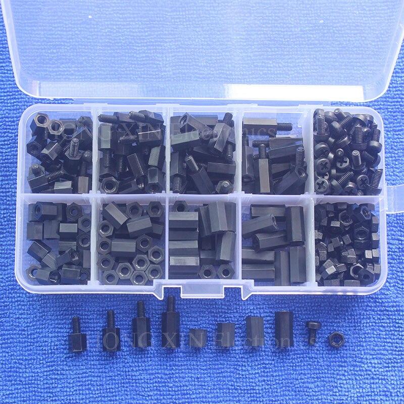 300 stücke M3 Nylon Schraube Schwarz Sechskantschraube Mutter Spacer Stand-off Variiert Länge Sortiment Kit Box