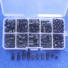 300pcs M3 Nylon Screw Black Hex Screw Nut Spacer Stand-off Varied Length Assortment Kit Box wsfs hot 300pcs m3 nylon black m f hex spacers screw nut assortment kit stand off set