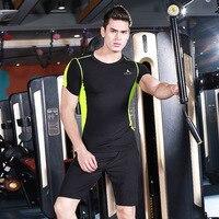 SOUTEAM Compression Muscle Men Tracksuit Demix Running Set Fitness Tight T Shirt Legging Shorts Men S