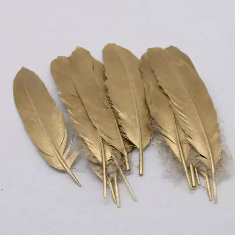 GOLD feathers-Metallic Gold Painted Goose Satinettes feathers for millinery wedding party decor supplies/10-18cm long,50pcs/lot