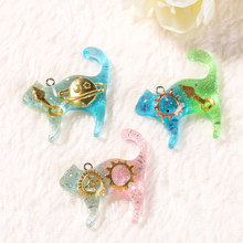 12pcs/lot 27*38mm Flatback resin cat charms perfect for pendants,earrings diy Keychain parts(China)
