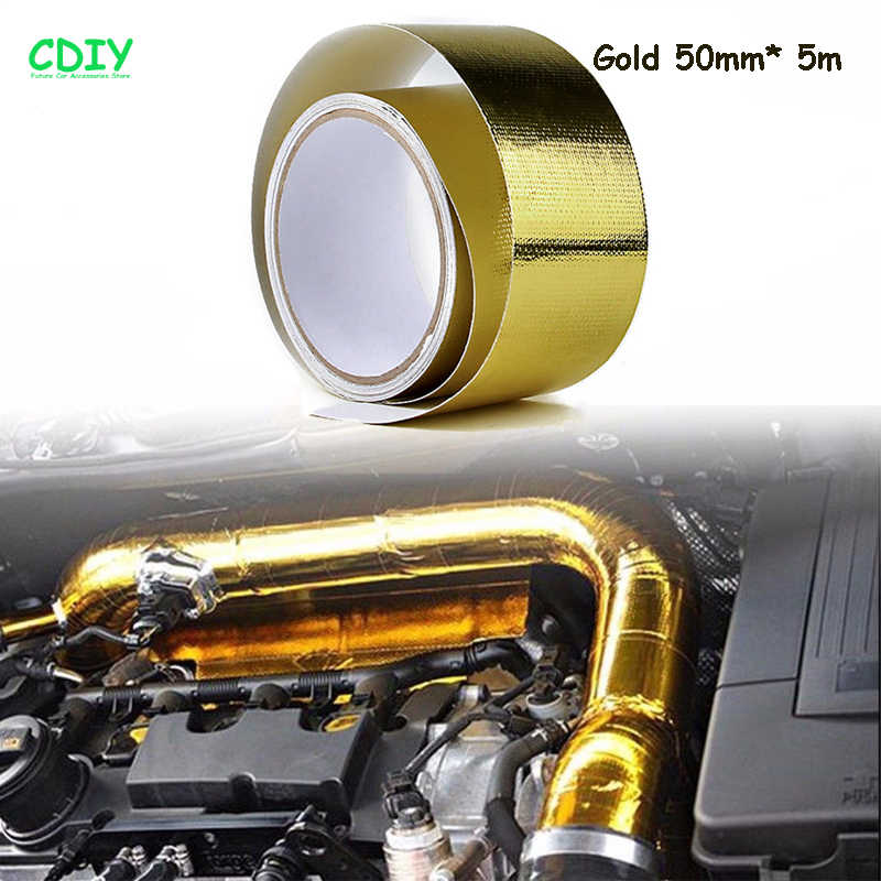 CDIY 5m Car Adhesive Reflective High Temperature Heat Shield Wrap Tape Auto  Exhaust Pipe Decorative Aluminum Foil Repair Tools