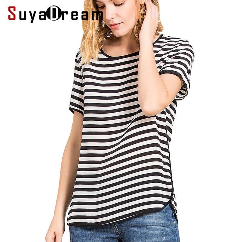 100% 리얼 실크 여성 t 셔츠 반소매 스트라이프 시폰 o 넥 셔츠 blusas femininas 2018 봄 여름 뉴 블랙 화이트-에서티셔츠부터 여성 의류 의  그룹 1