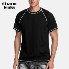 Charmleaks Men Rashguard Dry-Fit Short Sleeve Shirts Loose Fit Running Shirt Hiking Rash Guard Top UPF 50+ Breathable Beach Wear