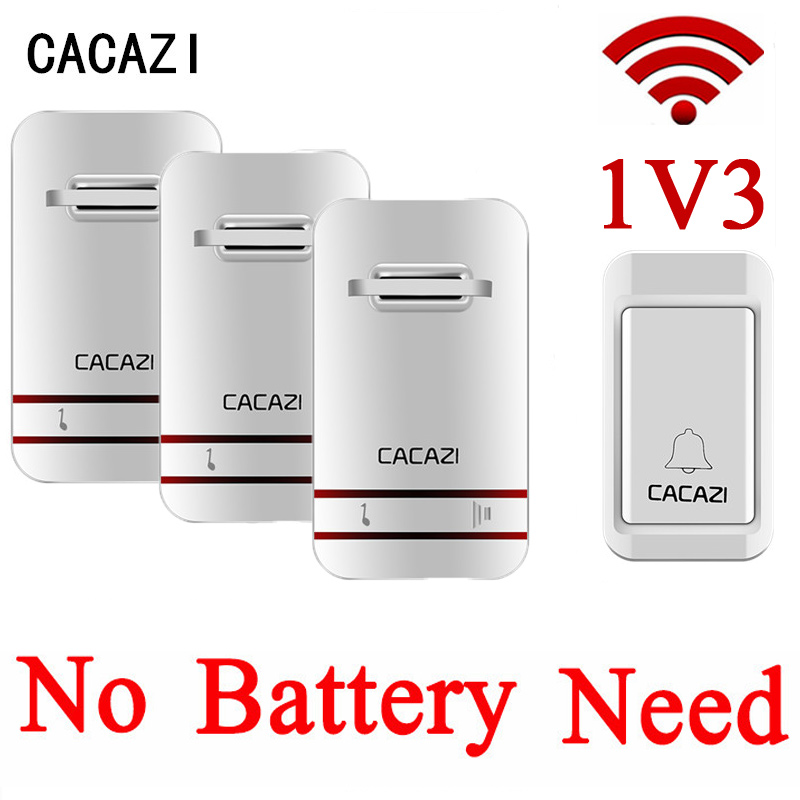 CACAZI 38 Tunes Wireless Doorbell Remote Door Bell,No need battery,Waterproof,EU/US/UK Plug 110-240V 1 transmitter+3 receivers cacazi wireless cordless doorbell remote door bell chime one button and two receivers no need battery waterproof eu us uk plug