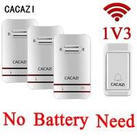CACAZI 38 Tunes Wireless Doorbell Remote Door Bell,No need battery,Waterproof,EU/US/UK Plug 110 240V 1 transmitter+3 receivers