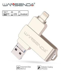 Image 1 - محرك أقراص فلاش USB معدني من WANSENDA بسعة 128 جيجابايت محرك أقراص OTG بسعة 32 جيجابايت 64 جيجابايت USB 3.0 قرص فلاش لهاتف iPhone 12 Pro/12/11/XR عصا ذاكرة USB