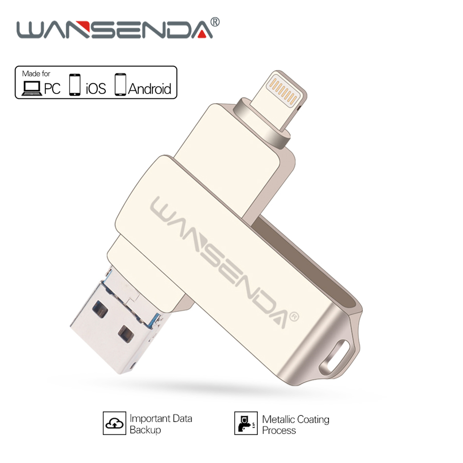WANSENDA Metal USB Flash Drive 128 gb OTG Pen Drive gb 64 32 gb Usb 3.0 Flash Disk para o iphone x/8 Plus/8/7 Plus USB Memory Stick