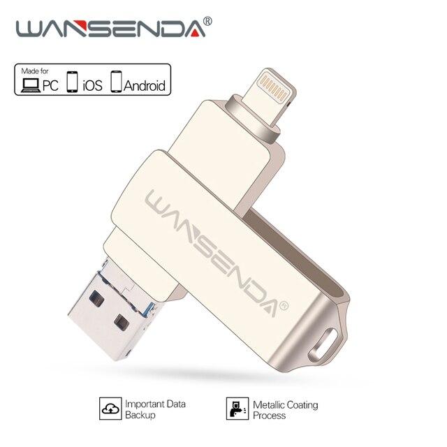 WANSENDA Metal USB Flash Drive 128gb OTG Pen Drive 32gb 64gb Usb 3.0 Flash Disk for iPhone X/8 Plus/8/7 Plus USB Memory Stick