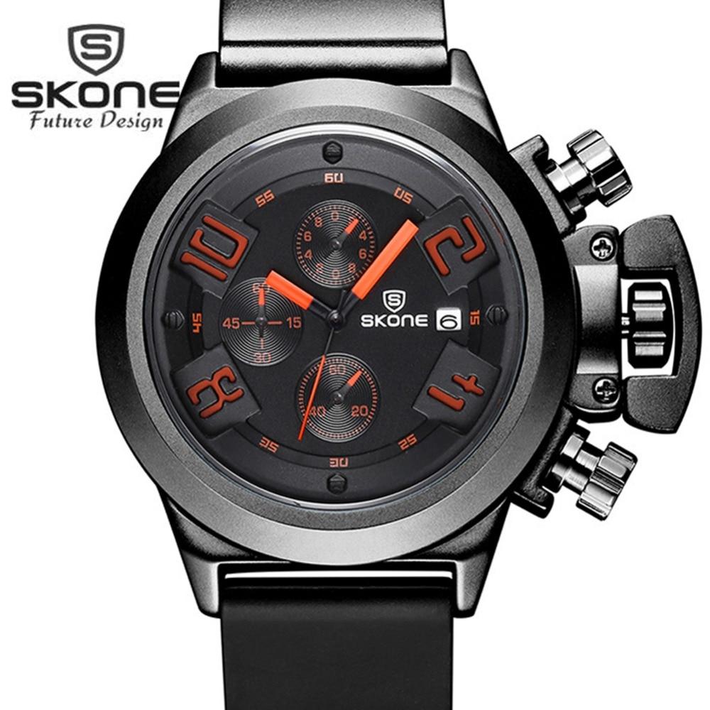 SKONE Military Sports 3 Dials Multifunction Watch Men Famous Brand Luxury Mens Quartz Watch Army Watches Relogio Masculino XFCS