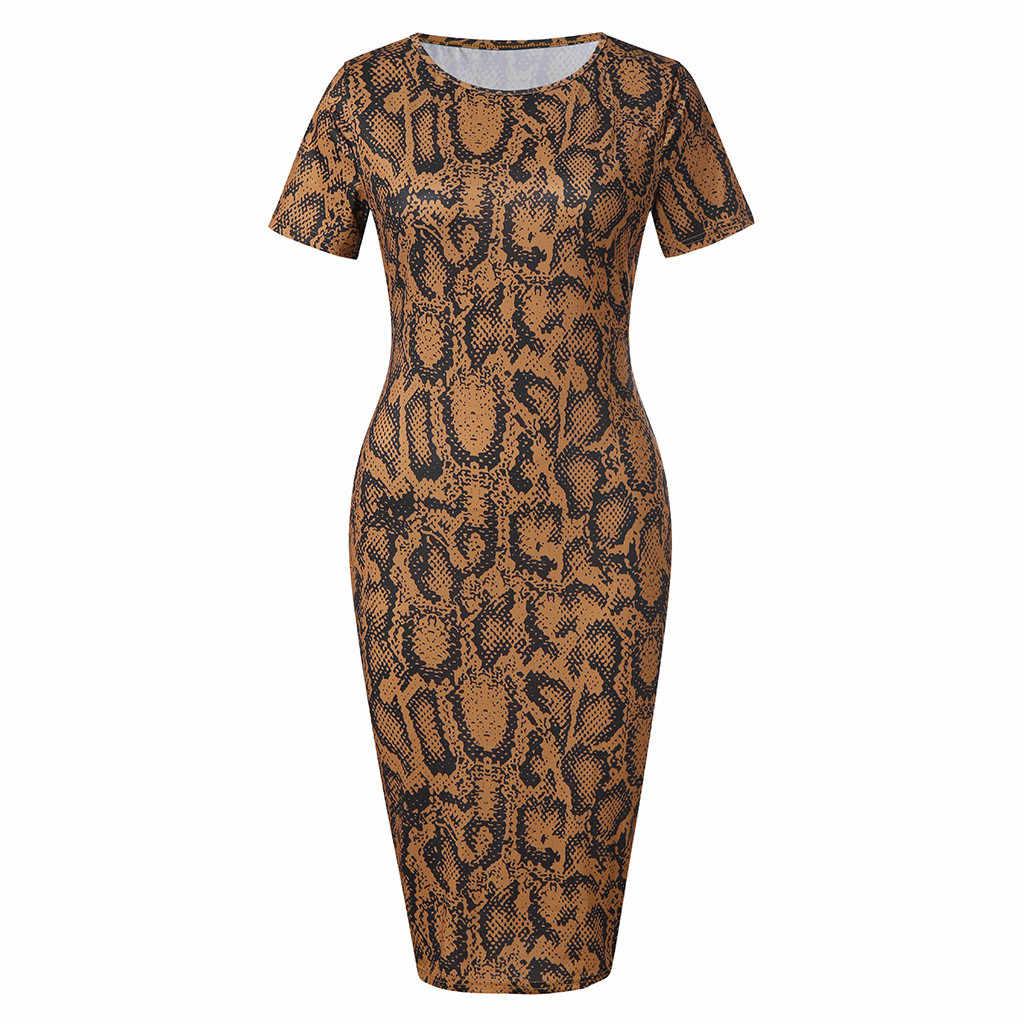JAYCOSIN 2019 новое летнее женское платье, сексуальное эротическое Клубное платье до колена, повседневное тонкое вечернее платье со змеиным принтом 9032012