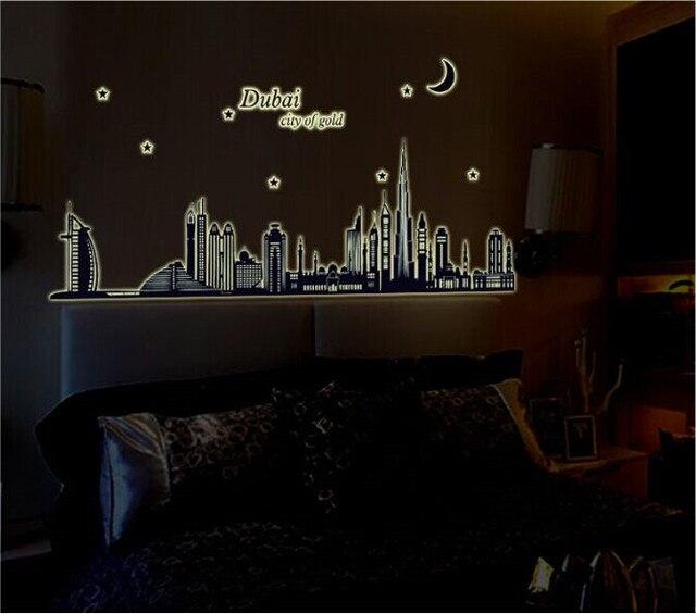 dubai landscape luminous fluorescent wall stickers wallpaper