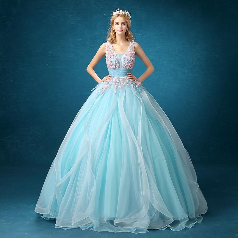 light blue flowersruffled medieval dress Renaissance Gown princess Victorian/Antoinette bell ball gown