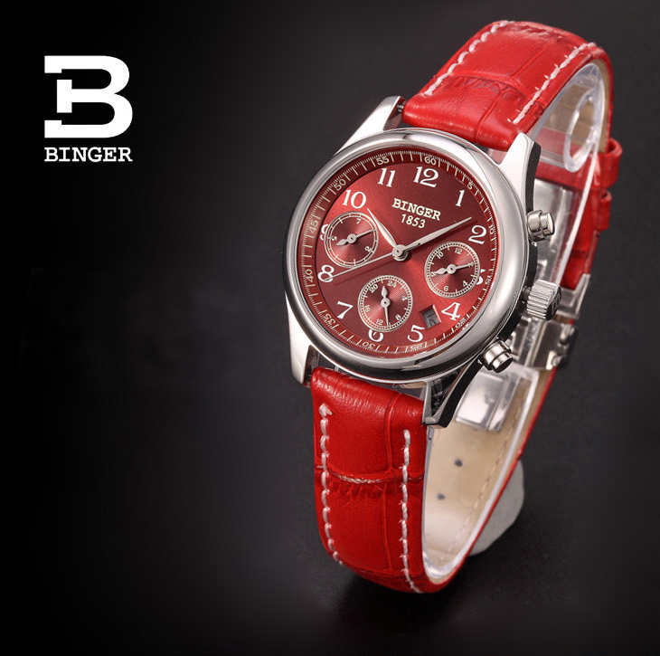 Switzerland Wristwatches BINGER business quartz sapphire full stainless steel Women's watches Water Resistant BG-0381