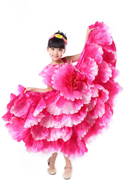 5953ddf6a Online Shop Children Flamenco Dance Costume Flamengo Petal Spanish ...