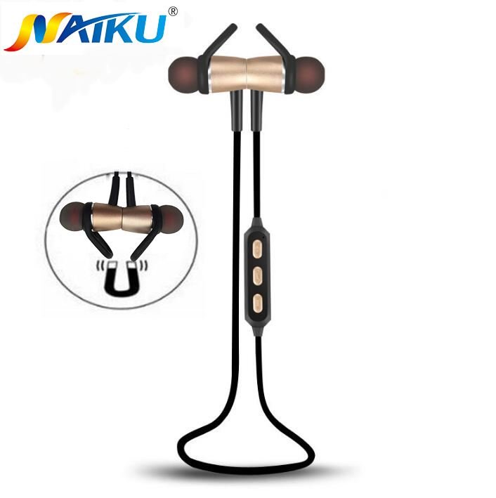 2017 NAIKU Bluetooth Headset Metal Magnetic Wireless Stereo Headphones with Mic Sport Running Apt-X HD Music Bluetooth earphone remax rb s6 neck hanging type sport headphones bluetooth v4 1 wireless hd stereo earphone music headphone with mic multi connect
