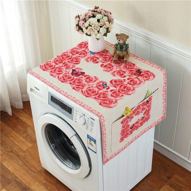 Ретро Европейский цветочный принт стиральная машина пылезащитный чехол для холодильника с карманом для хранения льняной ткани ремесло 1 шт./лот FC119 - Цвет: 8