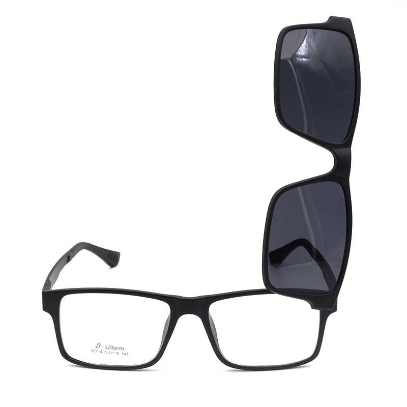 6654 Magnetic Polarized Glasses Clip-on Optical Eyewear Prescription Flexible Full Rim Square Plastic Men And Women Eyeglasses