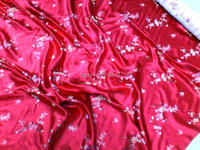 Telas discount woven damask traditional silk tissu fabric meters cheongsam kimono Red flowers Embroidery fabrics skirt textile